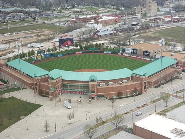 Hammons Field, home to the Springfield Cardinals, from the 22nd floor of Hammons Tower