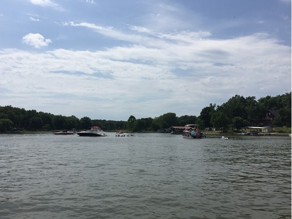 Floating at Lake Viking is a popular warm weather activity here