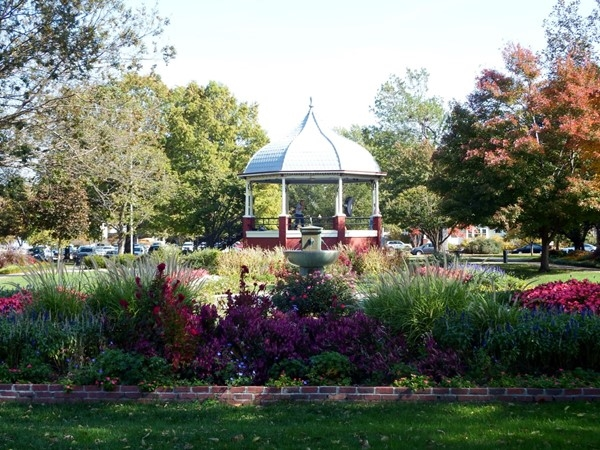 The South Park gazebo is surrounded by fall colors and flowers