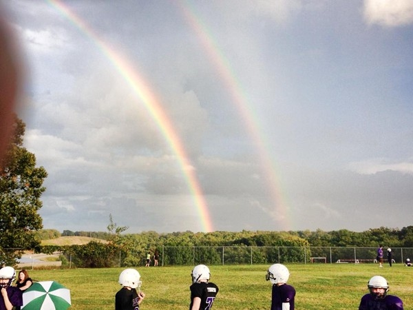 Double Rainbow over Camdenton Football Field