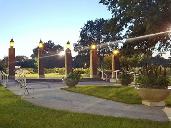 Reinisch Rose Garden entrance at dusk