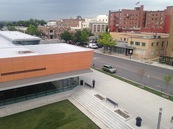 Bird's eye view of Lawrence Public Library in Downtown Lawrence