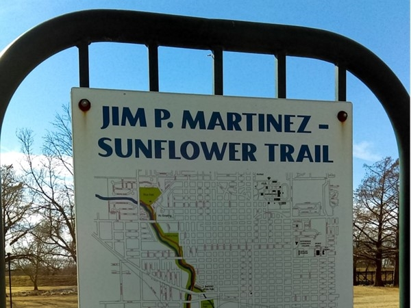 Jim P. Martinez Trail in Carey Park. Trail runs 6.8 miles through Reno County