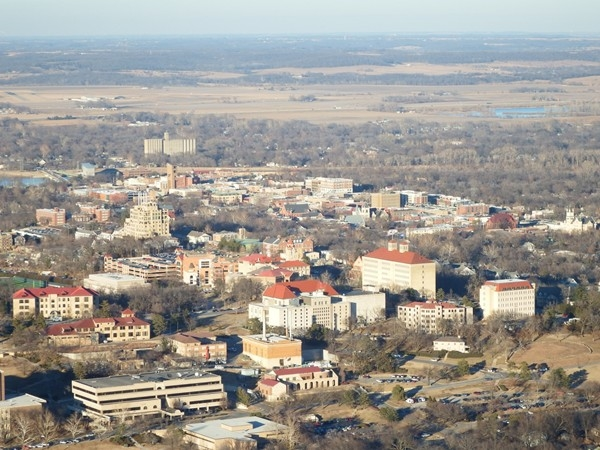 Downtown Lawrence viewed from the RE/MAX balloon high above the town