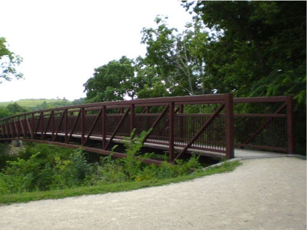 Bridge tucked away along the trail in Anneberg Park