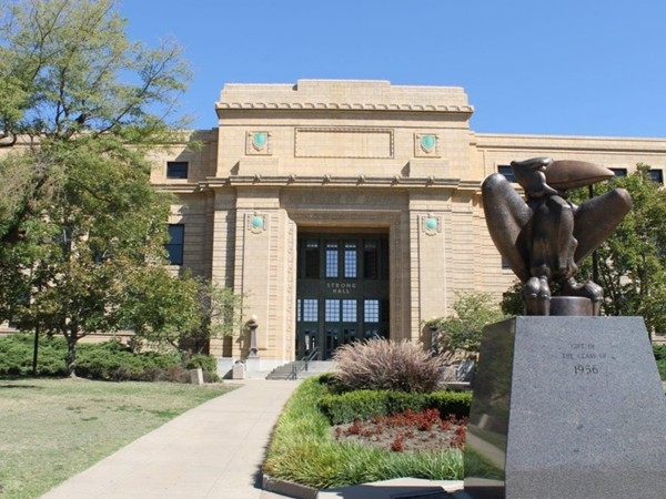 Jayhawk sculpture in front of Stong Hall at KU