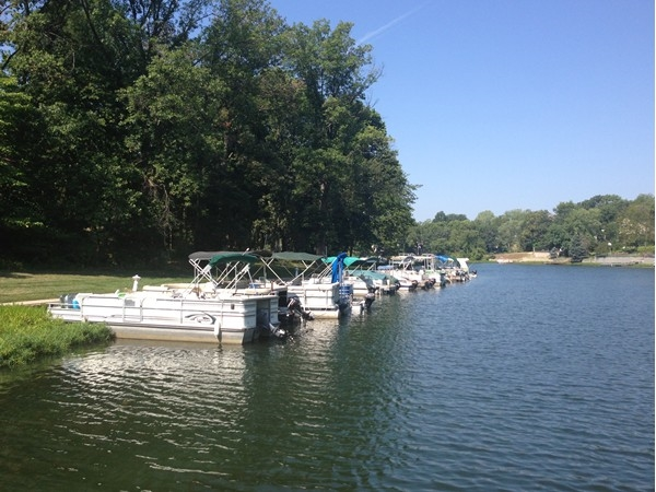 Pontoon boats waiting for someone to jump aboard to cruise the 274 acre lake.