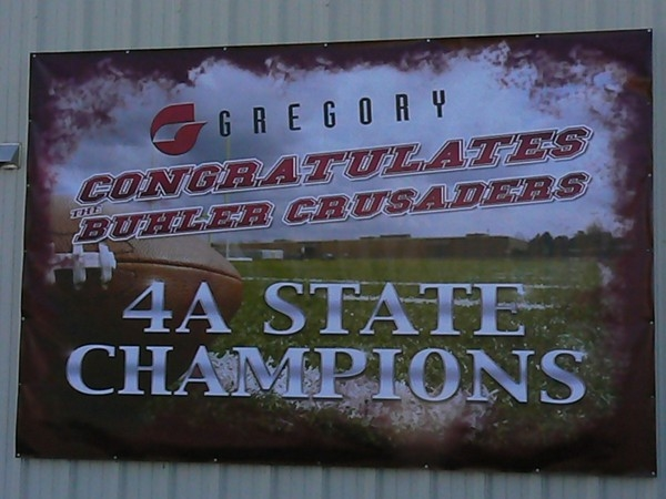 Local business Gregory Inc. congratulates the 2014 Class 4A State Football Champion Buhler Crusaders
