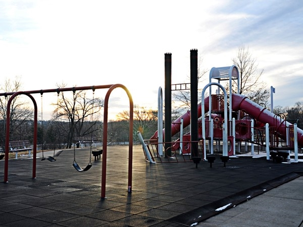 Playground equipment at Riverside Park