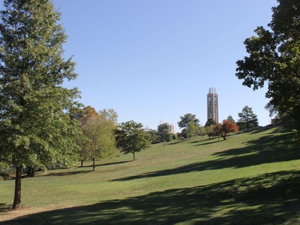 A distant view of the KU Memorial Campanile