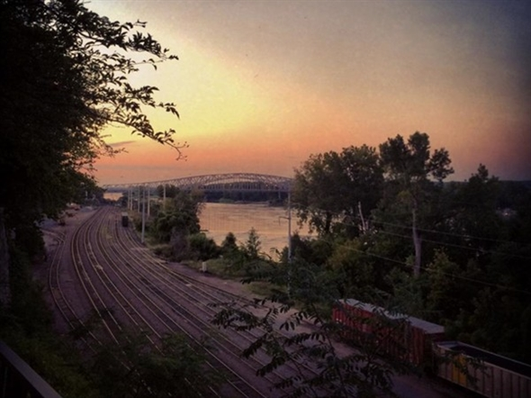 Sunset over the Missouri River by the Amtrak Station