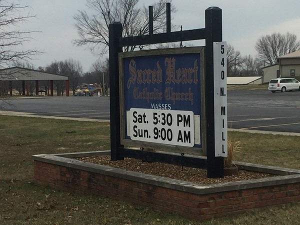 Sacred Heart Catholic Church has a Saturday night and Sunday morning service