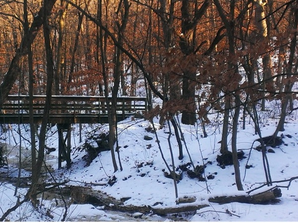 Snow covered foot bridge at Maple Woods Nature Preserve