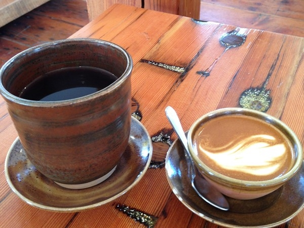 Aero press coffee and a cortado at Decade Coffee in East Lawrence