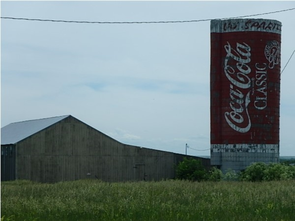 A landmark of sorts, the Coca Cola silo on the west side of Emporia