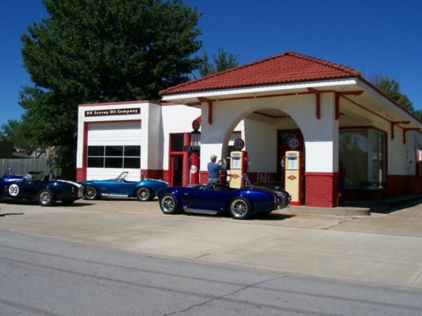 Restored Phillips 66 Station (corner of Green and 3rd St) is a great place for Car Clubs to meet