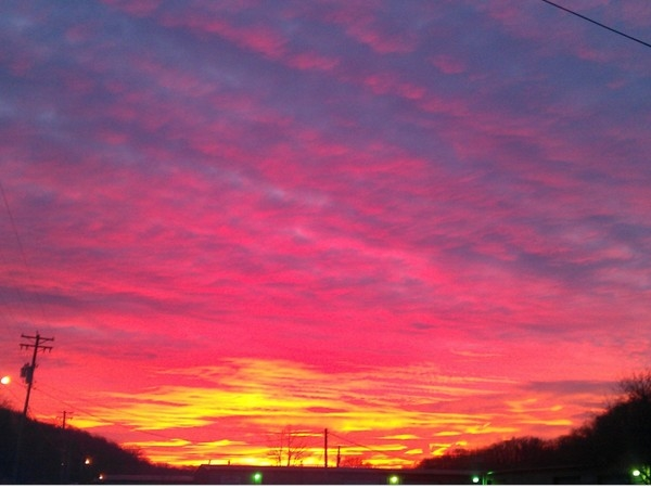 Gorgeous winter sunrise over Linn Creek Business Park