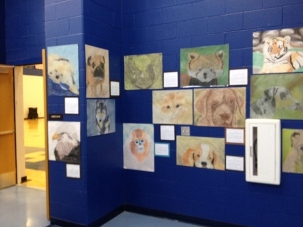 Eighth grade student artwork on display