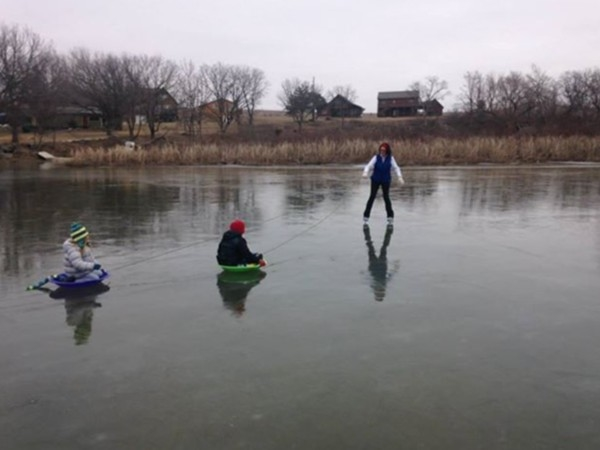 Ice skating and ice fishing at Lake Wabaunsee