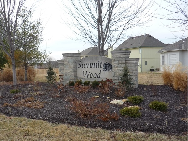The sign at the entrance to the Summit Wood subdivision