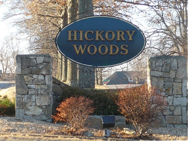 The sign at the entrance to Hickory Woods Subdivision