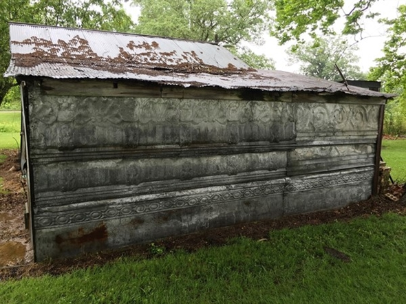 Old buildings with hidden treasures in the Ozarks. Original old tin. Such history