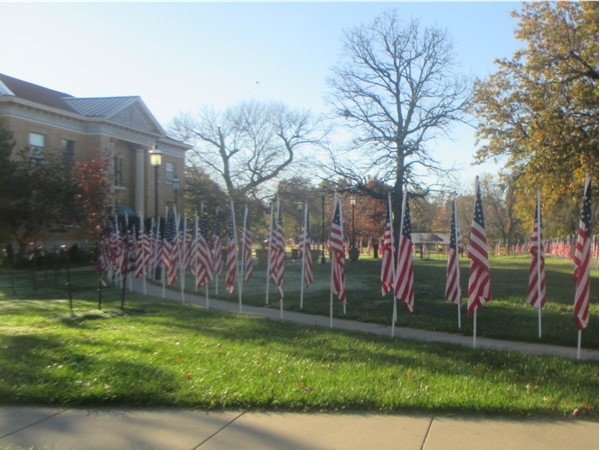 Honoring veterans in front of the Carnegie Arts Center