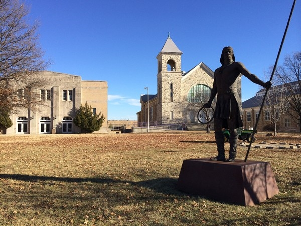 A stately sculpture on the Haskell University campus