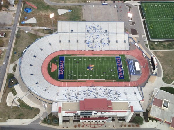 Hot air balloon view of Memorial Stadium
