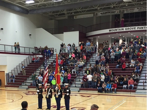 National anthem is always a great way to start a basketball game in Mountain Grove