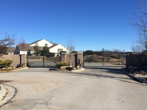 The gated entrance to the Enclave subdivision in Westwood Hills