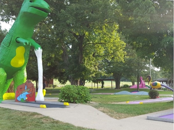 This giant concrete dinosaur has been a Topeka landmark since the 1970's and mini-golf hole hazard