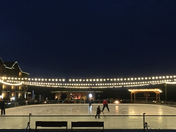 Relax by one of the several fireplaces or heaters while you watch the ice skaters