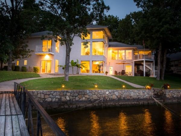 Custom waterfront home on the 'quiet' side of the lake