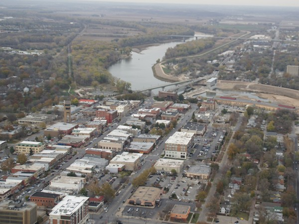 Aerial view of downtown Lawrence on a fall day.