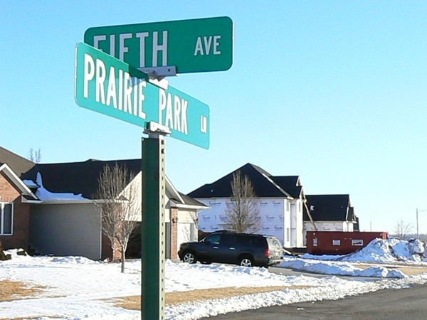 Existing homes and new construction in Buhler's newest subdivision on Prairie Park Lane
