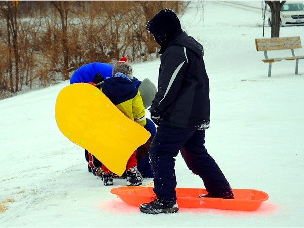 Sledding fun at one of the parks in Jefferson City