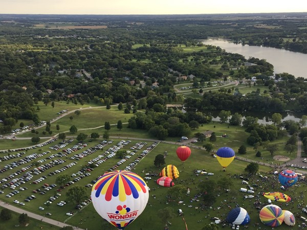 Incredible view of the lake as we take off first in the RE/MAX balloon