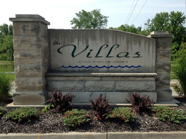 The Villas at Country Meadows subdivision entrance.
