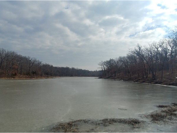 Beautiful frozen lake at Knob Noster State Park, Missouri