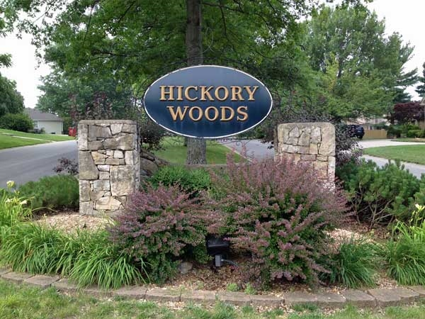 Entrance to Hickory Woods subdivision
