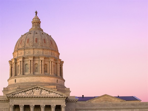 A gorgeous sky is the backdrop for our incredible state capitol building in downtown Jefferson City