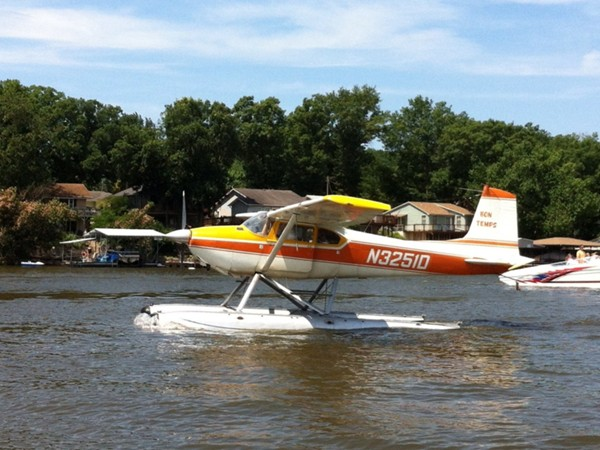 Seaplane taking off from Big Dick's Halfway Inn