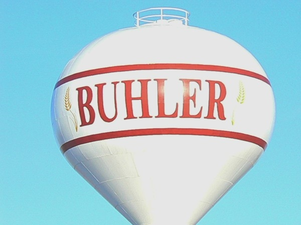 The water tower welcomes you to Buhler from miles away