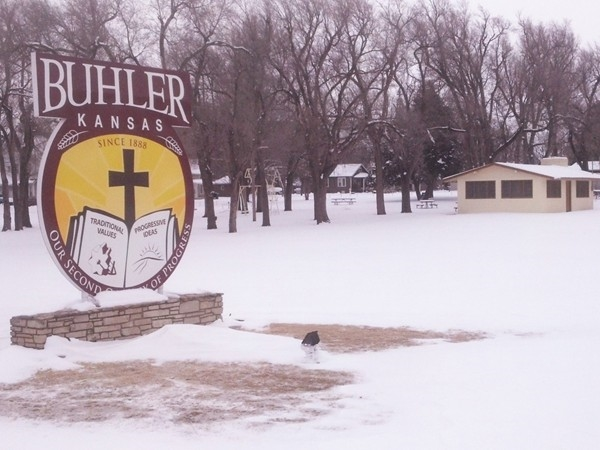Welcome to Buhler sign located in the Albert Becker Memorial Park
